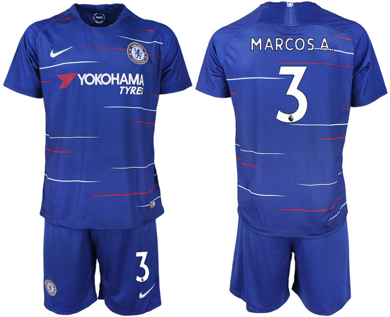 Men 2018-2019 club Chelsea FC home 3 blue soccer jerseys