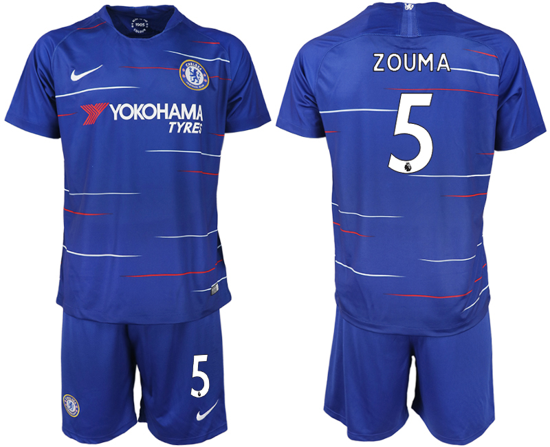 Men 2018-2019 club Chelsea FC home 5 blue soccer jerseys