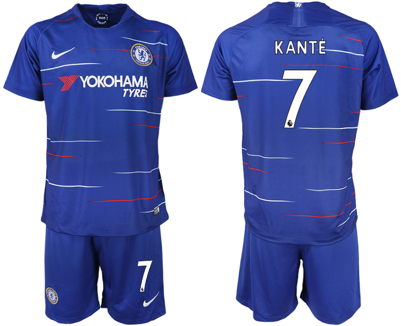 Men 2018-2019 club Chelsea FC home 7 blue soccer jerseys