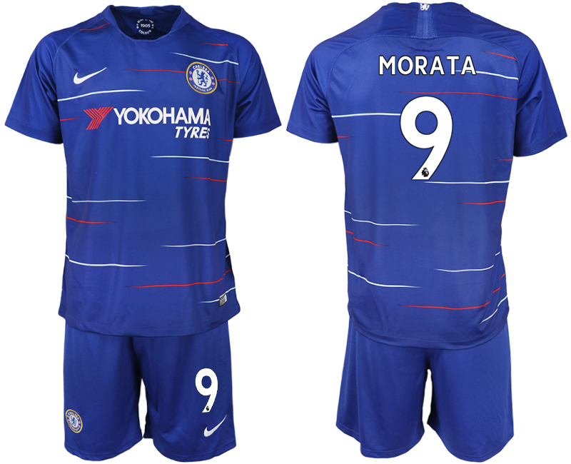 Men 2018-2019 club Chelsea FC home 9 blue soccer jerseys
