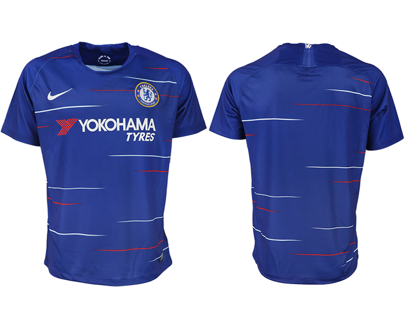 Men 2018-2019 club Chelsea FC home aaa version blank blue soccer jersey