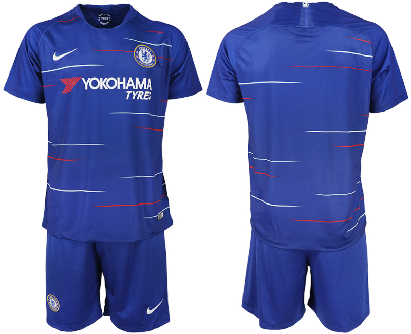 Men 2018-2019 club Chelsea FC home blank blue soccer jerseys
