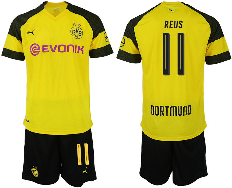 Men 2018-2019 club Dortmund home 11 yellow soccer jersey