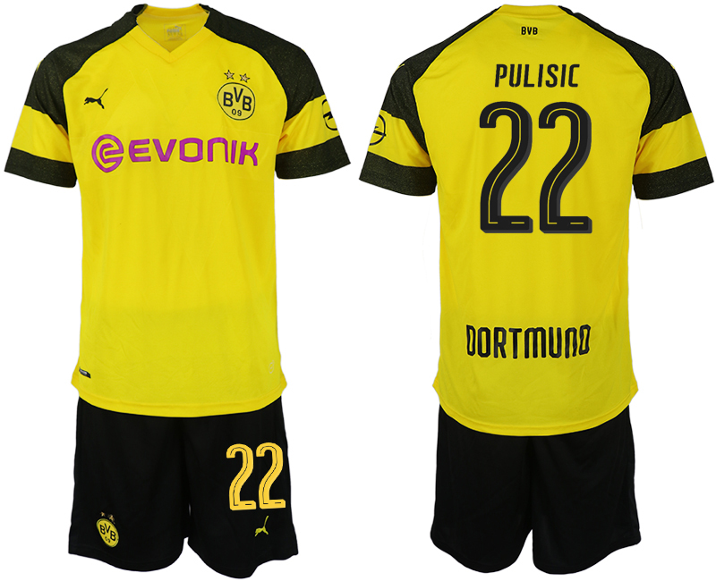 Men 2018-2019 club Dortmund home 22 yellow soccer jersey