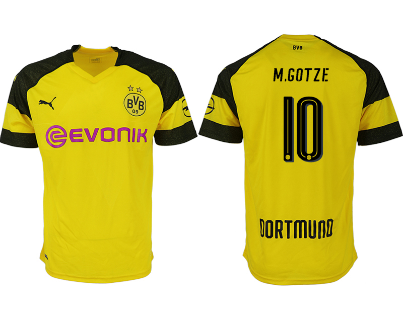 Men 2018-2019 club Dortmund home aaa version 10 yellow soccer jerseys