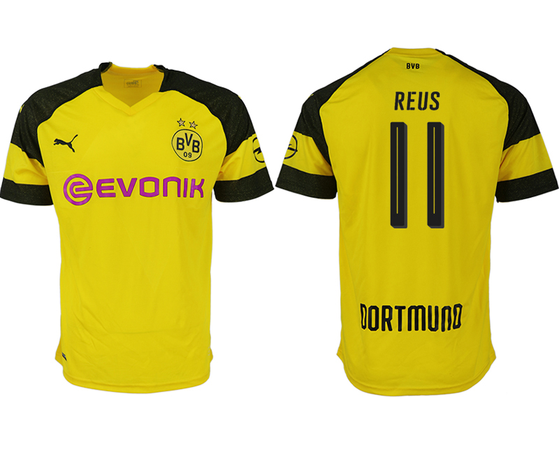 Men 2018-2019 club Dortmund home aaa version 11 yellow soccer jerseys