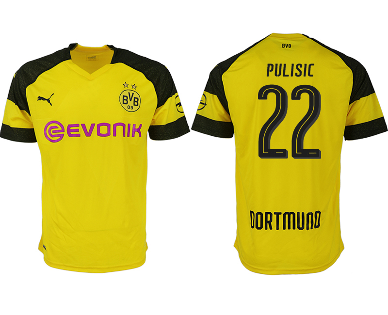 Men 2018-2019 club Dortmund home aaa version 22 yellow soccer jerseys