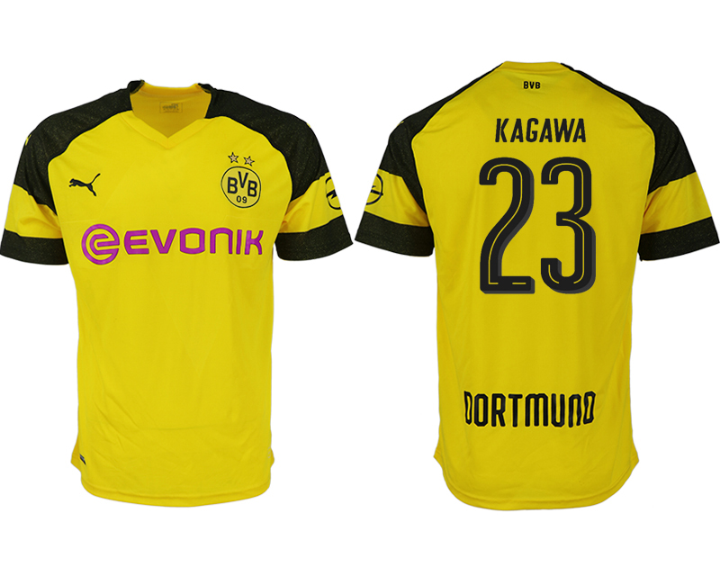 Men 2018-2019 club Dortmund home aaa version 23 yellow soccer jerseys