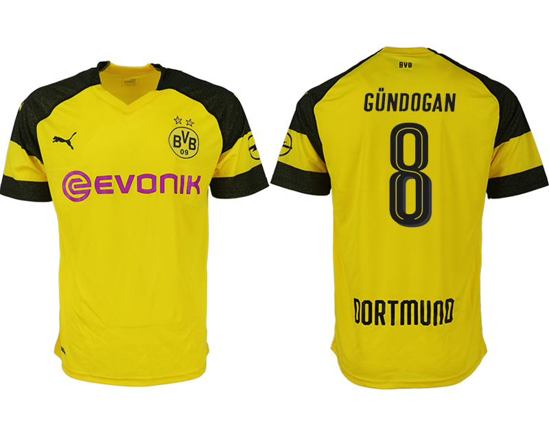 Men 2018-2019 club Dortmund home aaa version 8 yellow soccer jerseys