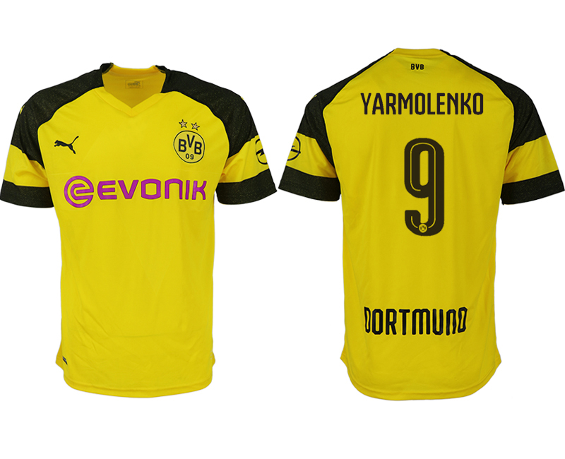 Men 2018-2019 club Dortmund home aaa version 9 yellow soccer jerseys