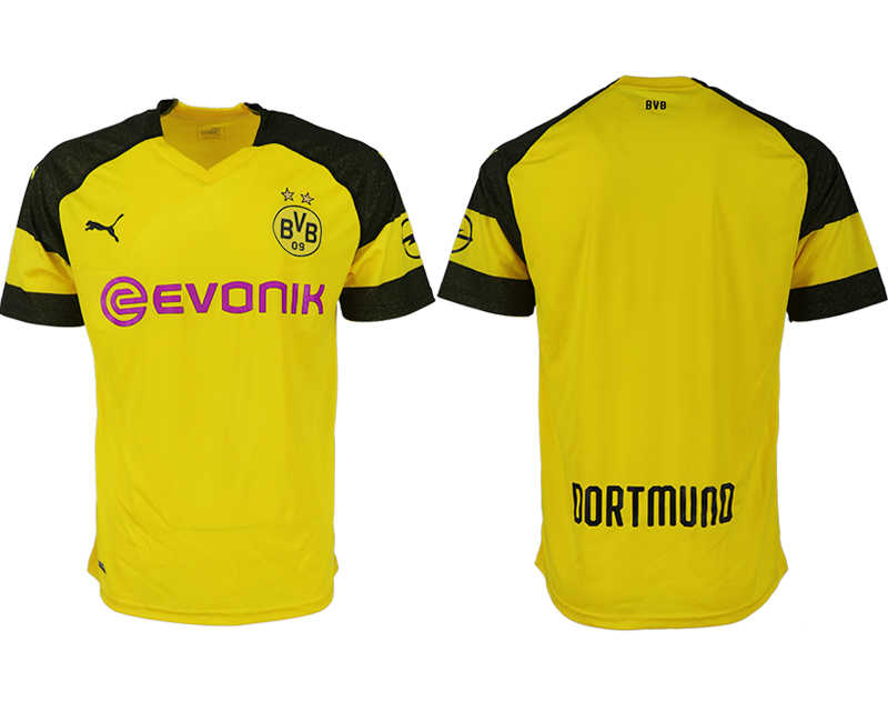 Men 2018-2019 club Dortmund home aaa version blank yellow soccer jerseys
