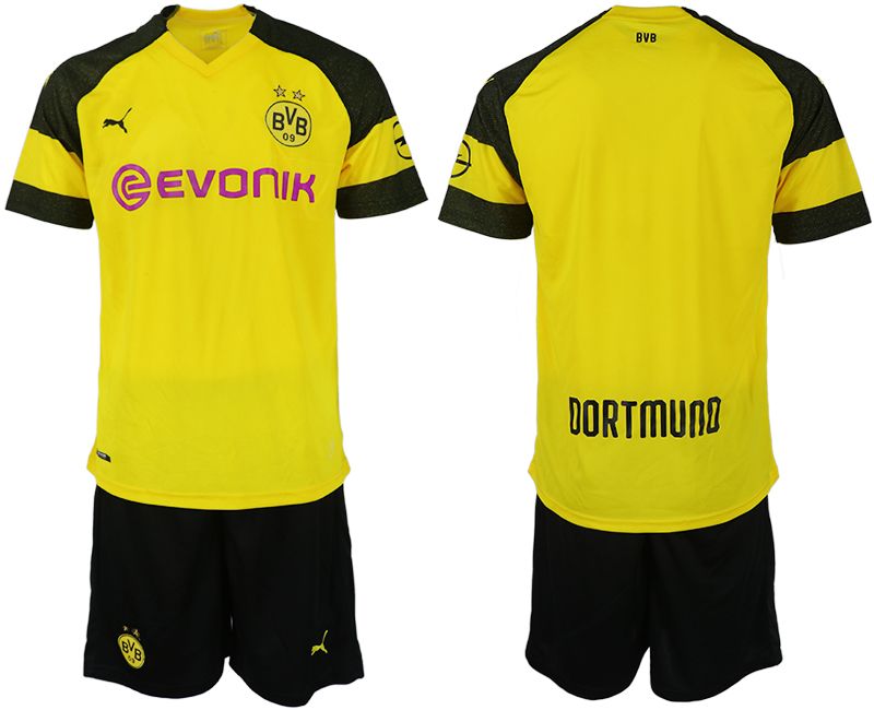 Men 2018-2019 club Dortmund home blank yellow soccer jersey
