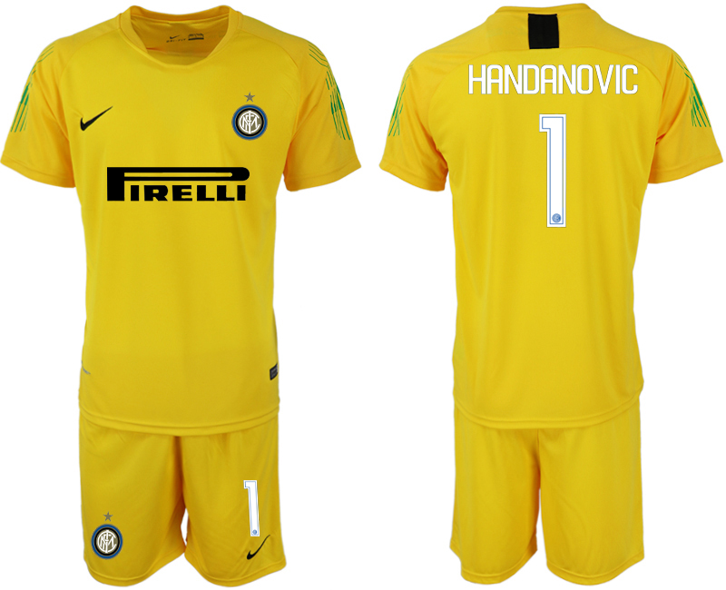 Men 2018-2019 club Inter milan fluorescent yellow goalkeeper 1 soccer jersey