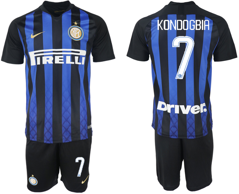 Men 2018-2019 club Inter milan home 7 blue soccer jersey