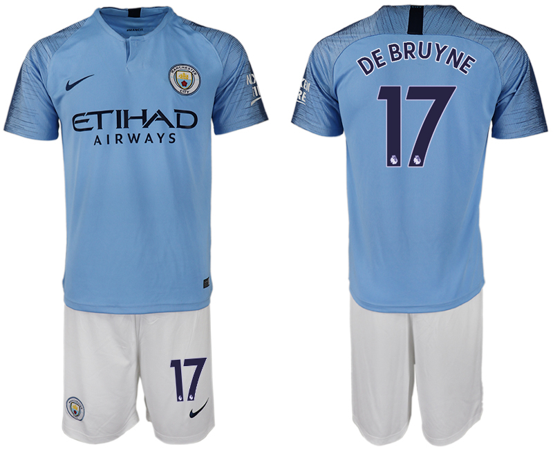 Men 2018-2019 club Manchester City home 17 blue soccer jersey