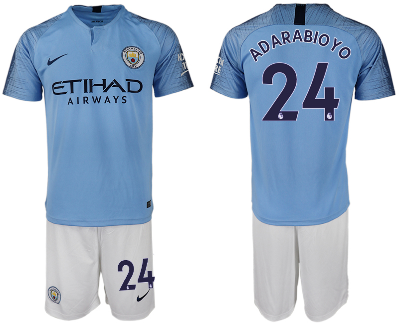 Men 2018-2019 club Manchester City home 24 blue soccer jersey