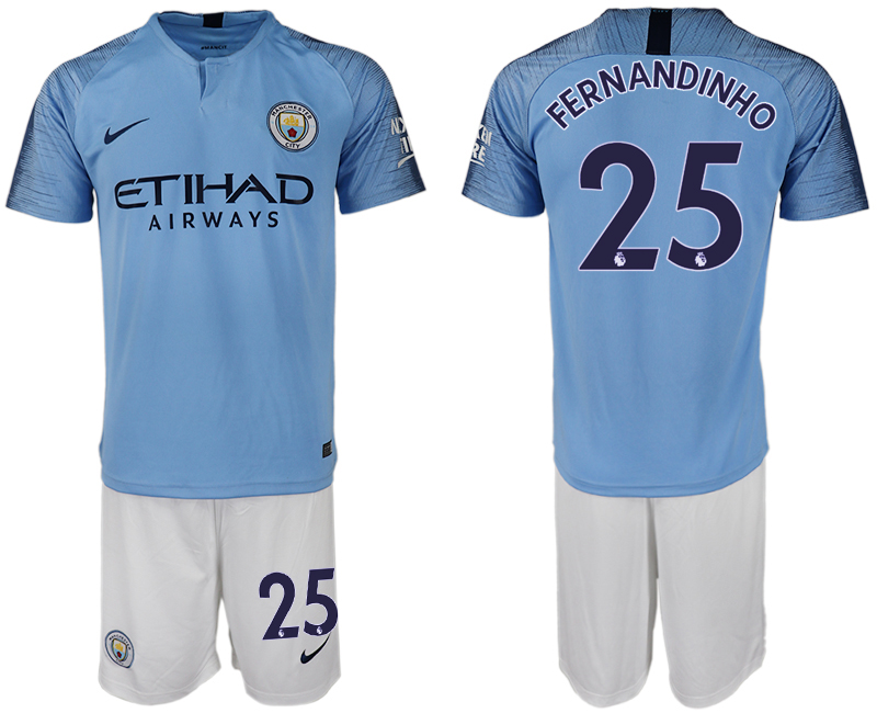Men 2018-2019 club Manchester City home 25 blue soccer jersey
