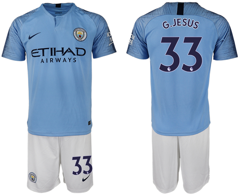 Men 2018-2019 club Manchester City home 33 blue soccer jersey