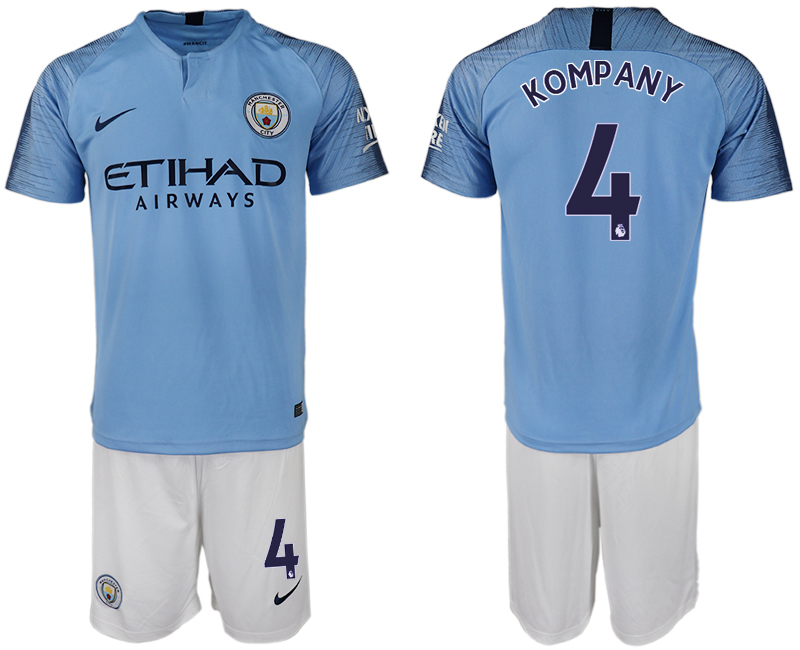 Men 2018-2019 club Manchester City home 4 blue soccer jersey
