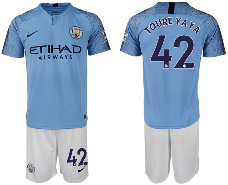 Men 2018-2019 club Manchester City home 42 blue soccer jersey