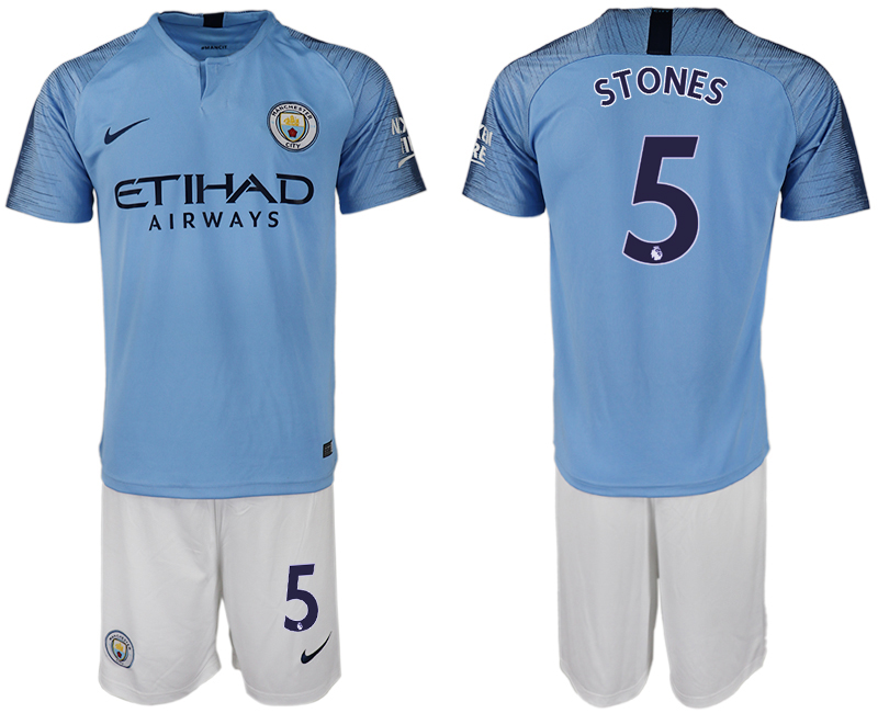 Men 2018-2019 club Manchester City home 5 blue soccer jersey