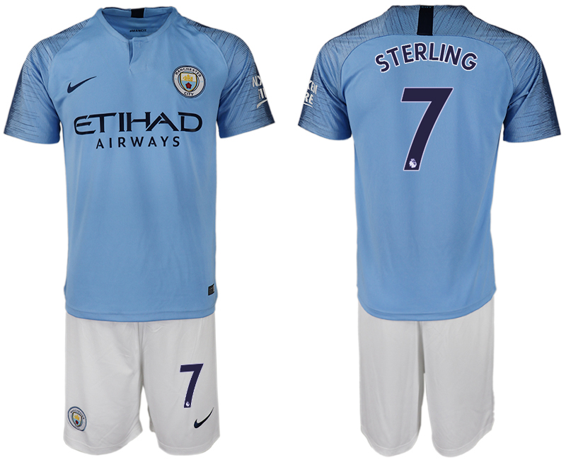 Men 2018-2019 club Manchester City home 7 blue soccer jersey