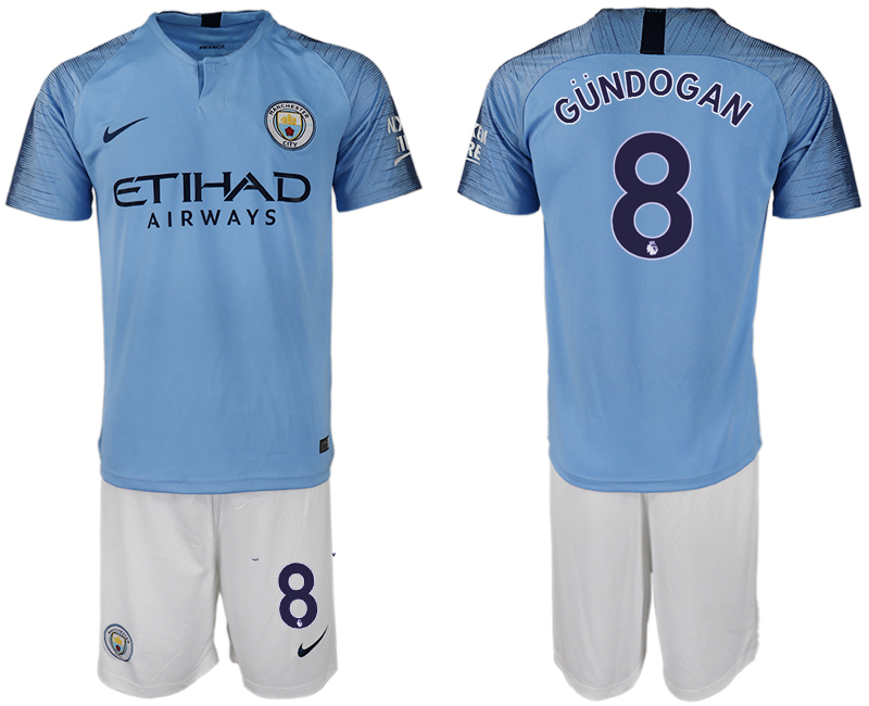 Men 2018-2019 club Manchester City home 8 blue soccer jersey