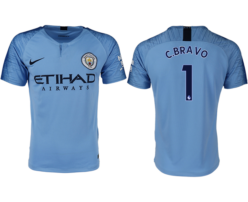 Men 2018-2019 club Manchester City home aaa version 1 blue soccer jersey