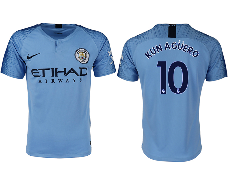 Men 2018-2019 club Manchester City home aaa version 10 blue soccer jersey