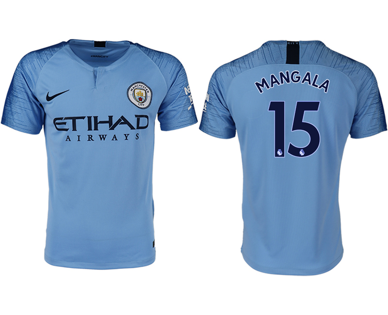 Men 2018-2019 club Manchester City home aaa version 15 blue soccer jersey