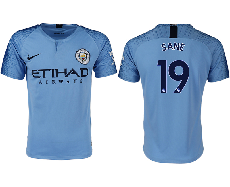 Men 2018-2019 club Manchester City home aaa version 19 blue soccer jersey
