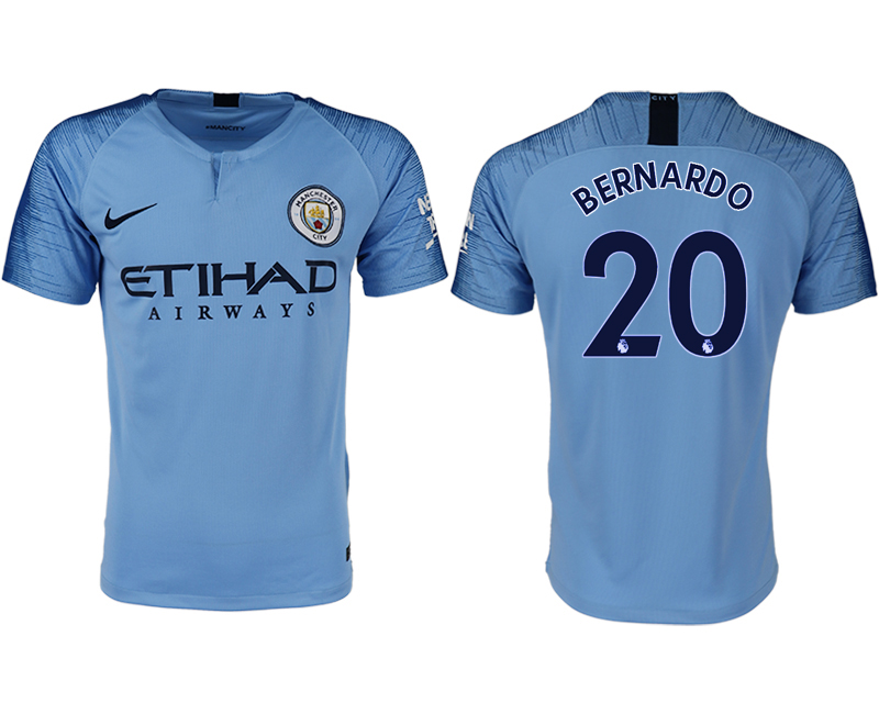 Men 2018-2019 club Manchester City home aaa version 20 blue soccer jersey