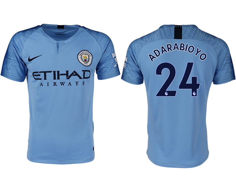 Men 2018-2019 club Manchester City home aaa version 24 blue soccer jersey