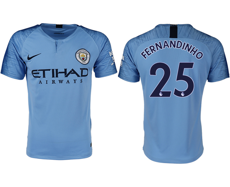 Men 2018-2019 club Manchester City home aaa version 25 blue soccer jersey