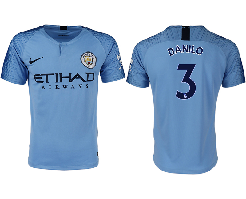 Men 2018-2019 club Manchester City home aaa version 3 blue soccer jersey