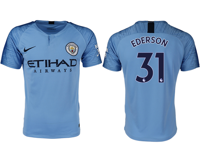 Men 2018-2019 club Manchester City home aaa version 31 blue soccer jersey