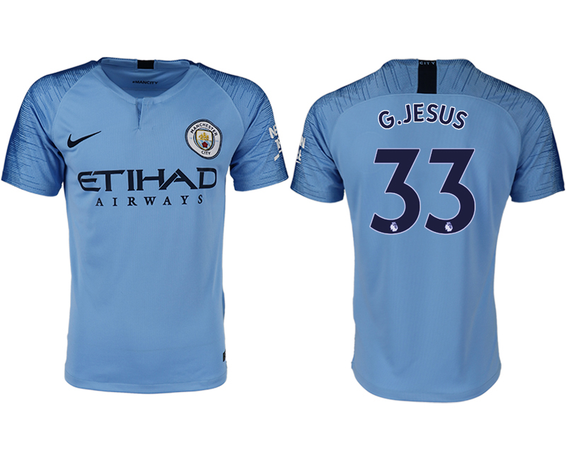 Men 2018-2019 club Manchester City home aaa version 33 blue soccer jersey