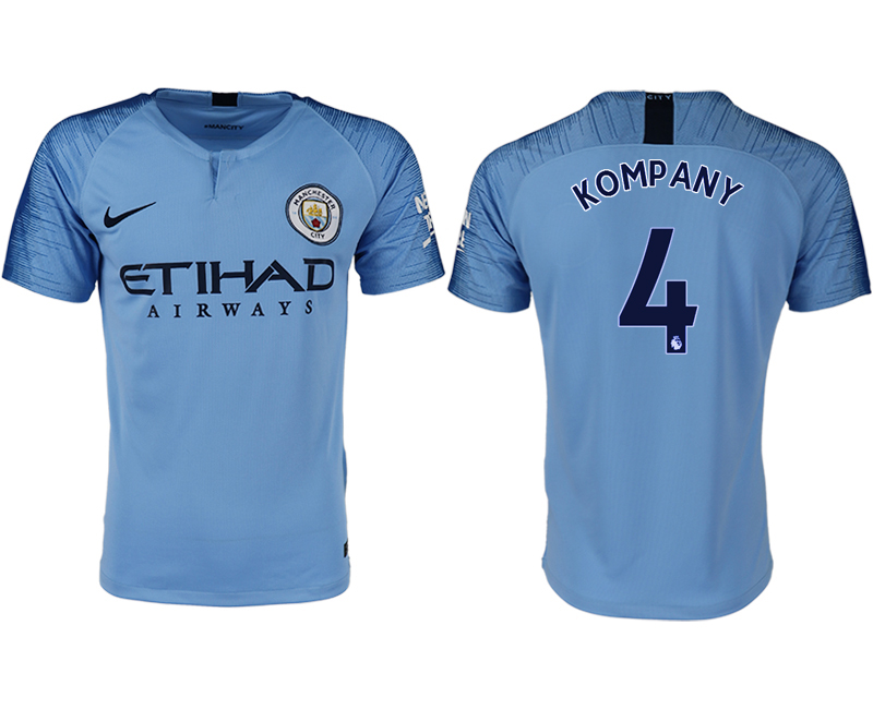 Men 2018-2019 club Manchester City home aaa version 4 blue soccer jersey