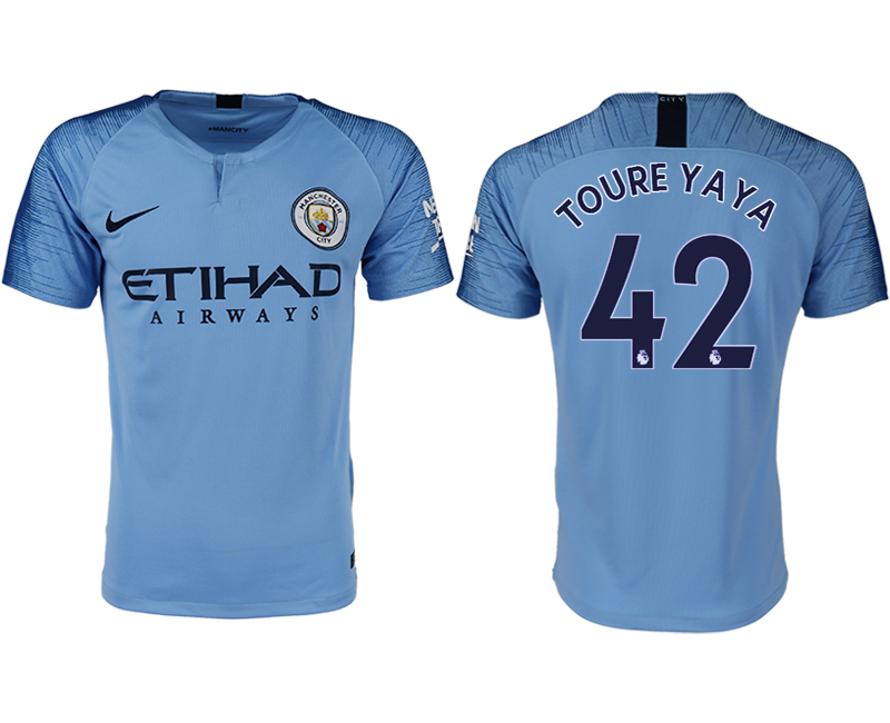 Men 2018-2019 club Manchester City home aaa version 42 blue soccer jersey