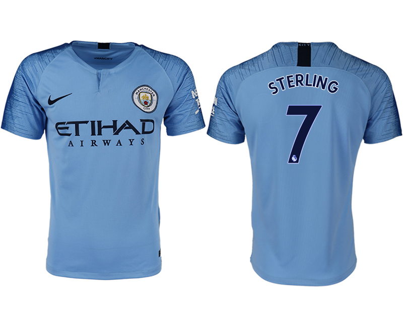 Men 2018-2019 club Manchester City home aaa version 7 blue soccer jersey