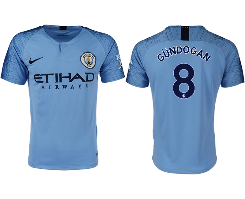 Men 2018-2019 club Manchester City home aaa version 8 blue soccer jersey