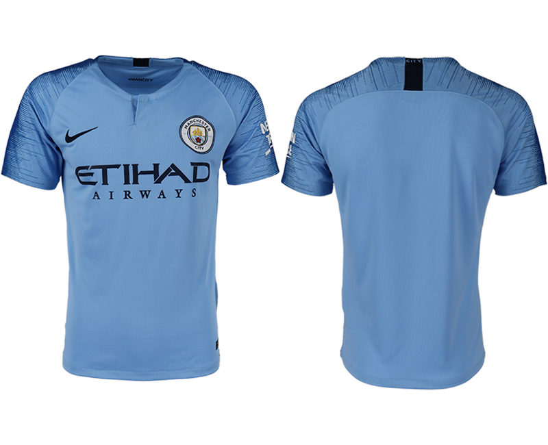 Men 2018-2019 club Manchester City home aaa version blank blue soccer jersey