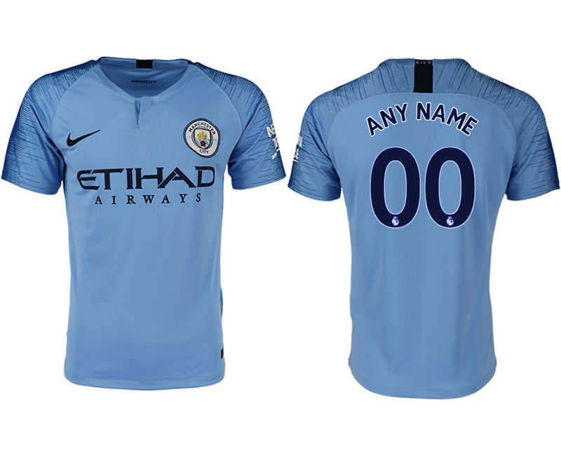 Men 2018-2019 club Manchester City home aaa version customized blue soccer jersey