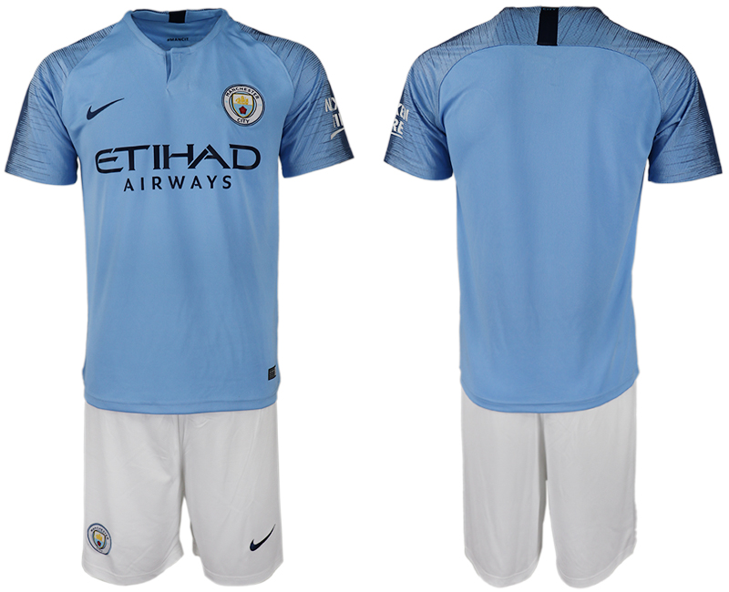 Men 2018-2019 club Manchester City home blank blue soccer jersey