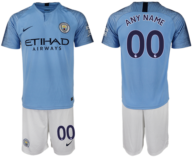 Men 2018-2019 club Manchester City home customized blue soccer jersey