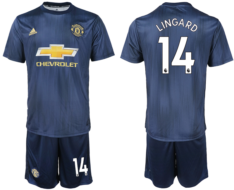 Men 2018-2019 club Manchester united away 14 navy blue soccer jersey