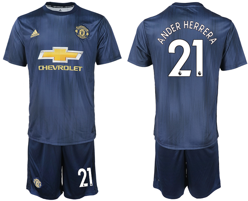 Men 2018-2019 club Manchester united away 21 navy blue soccer jersey