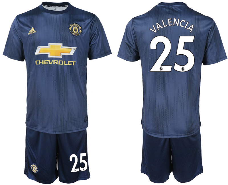 Men 2018-2019 club Manchester united away 25 navy blue soccer jersey