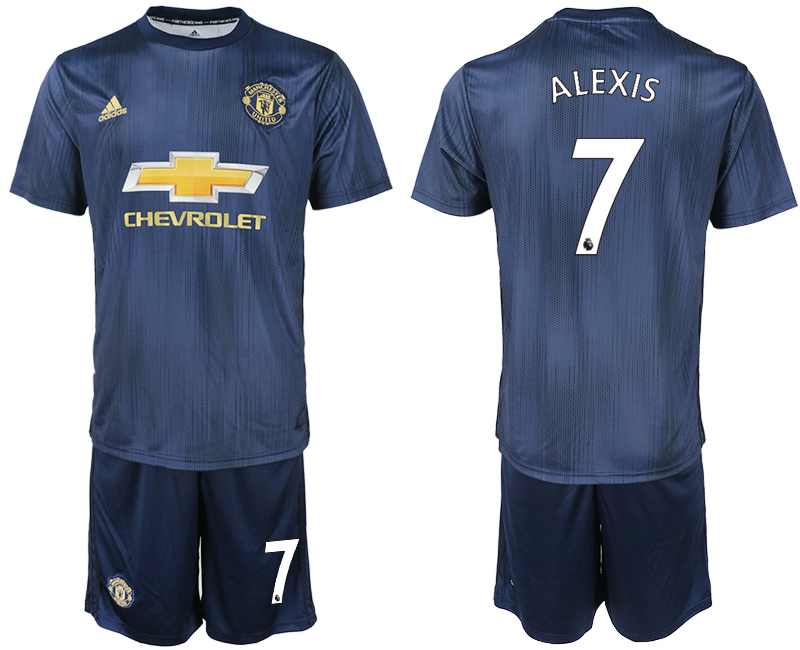 Men 2018-2019 club Manchester united away 7 navy blue soccer jersey