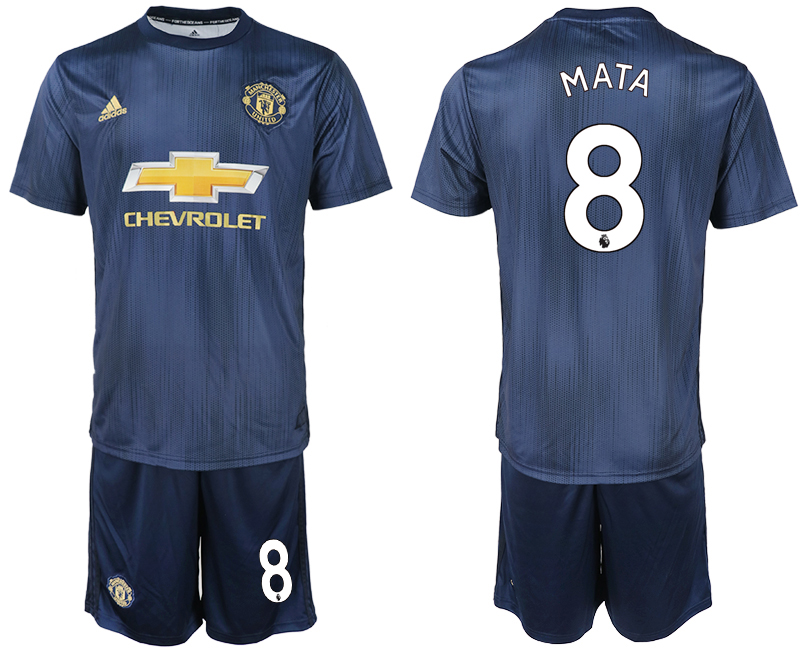 Men 2018-2019 club Manchester united away 8 navy blue soccer jersey